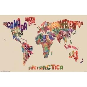 World map text poster poster print texts walmart and dorm world map text poster poster print walmart gumiabroncs Images