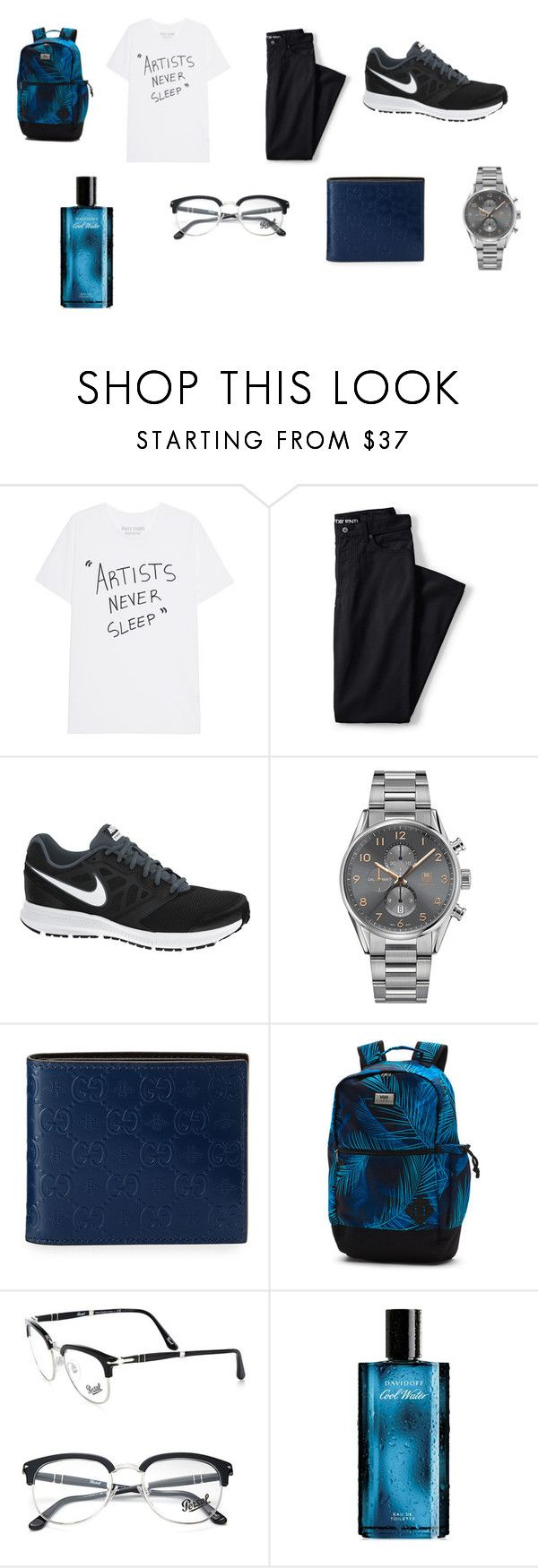 """""""Boys / School"""" by jasmin198 ❤ liked on Polyvore featuring Lands' End, NIKE, TAG Heuer, Gucci, Vans, Persol, Davidoff, men's fashion and menswear"""