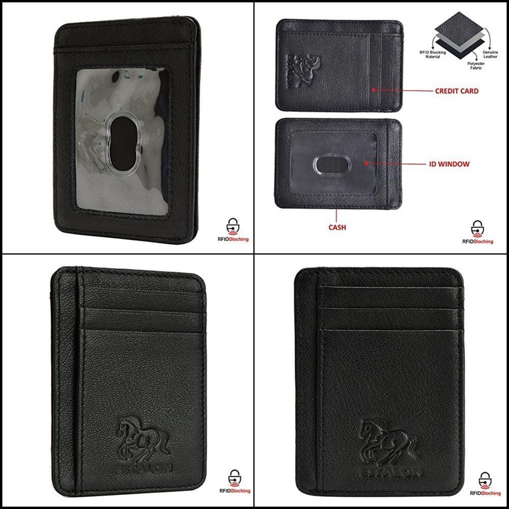 f2dac5f6b7e Front Pocket Wallet Minimalist Leather Slim MoneyClip RFID Blocking Black  Smooth  Estalon  MoneyClip