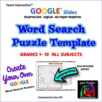 GOOGLE Interactive Word Search Puzzle Template Word search puzzles