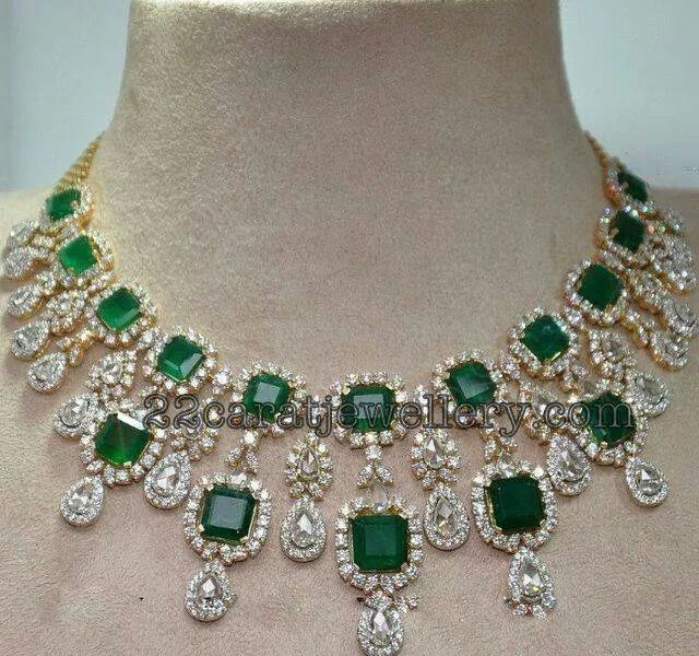 Diamond and emerald necklace necklaces pinterest emerald diamond and emerald necklace mozeypictures Choice Image
