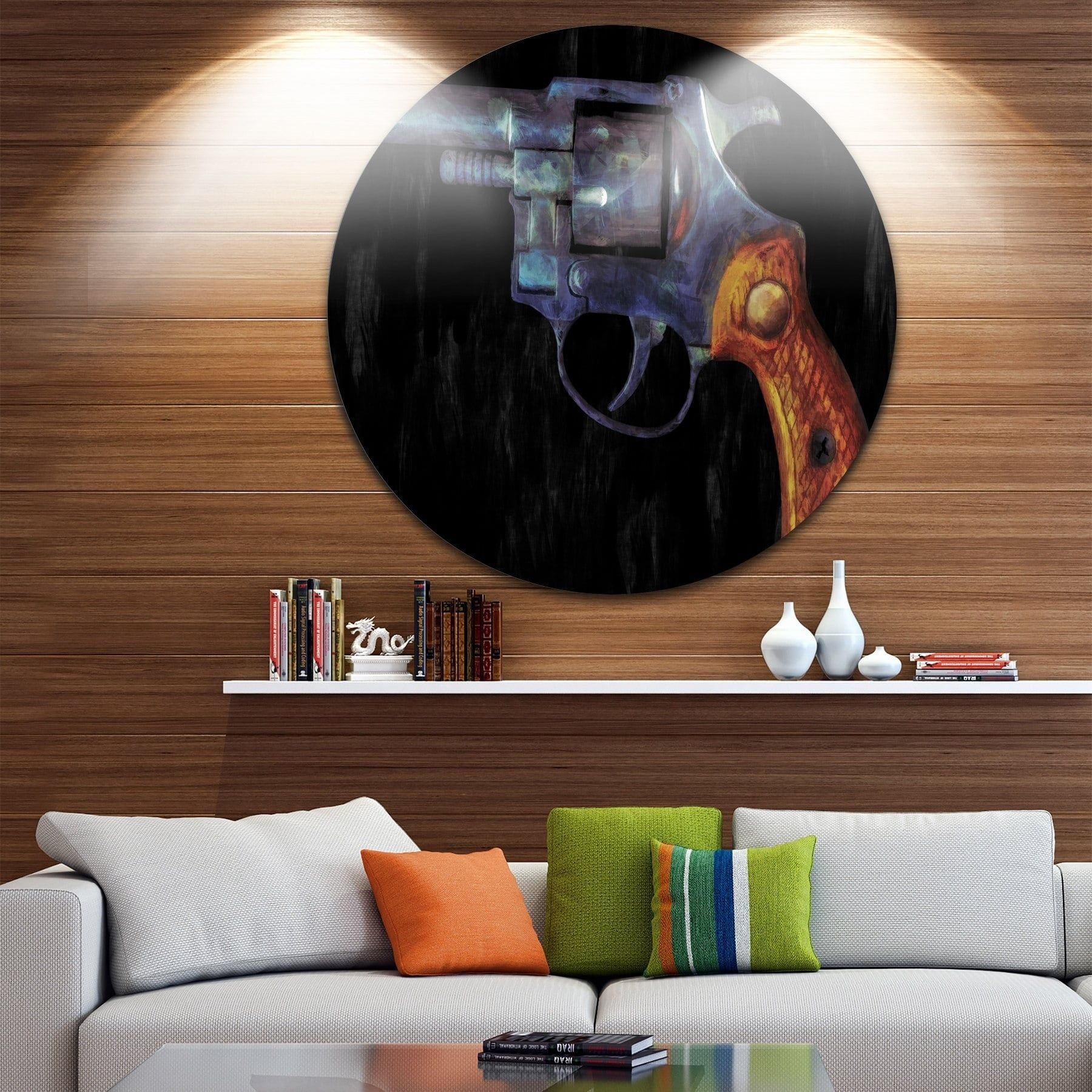 Designart uretro revolveru vintage revolver painting disc metal wall