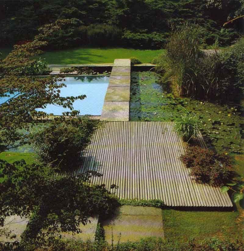 Villa theobald colonia jardines exteriores pinterest for Paisajismo estanques