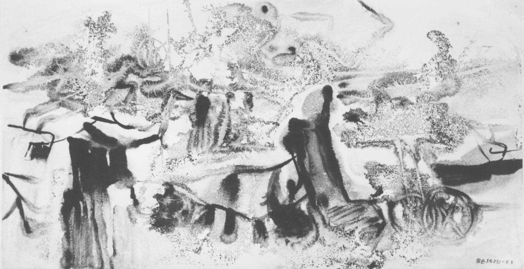 E. Besozzi pitt. 1963 Ricordi di viaggio china su carta arc. 814