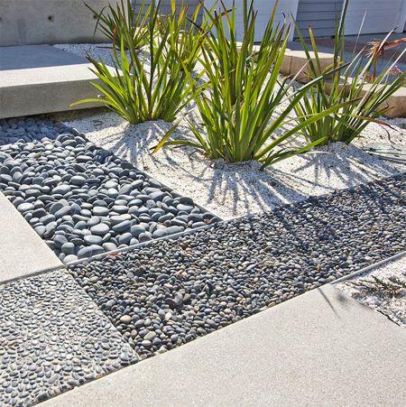 Low Maintenance Garden Pebble Beds Modern Landscaping Modern Landscape Design Landscape Design