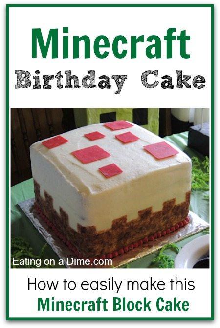 How To Make This Cake Block Minecraft Birthday Cake Eating On A Dime Minecraft Birthday Cake Minecraft Cake Easy Minecraft Cake