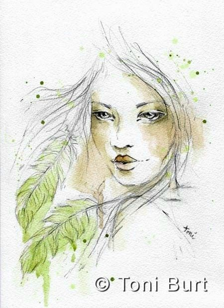 Envision Watercolour Girl With Feathers From My Art Journal Art