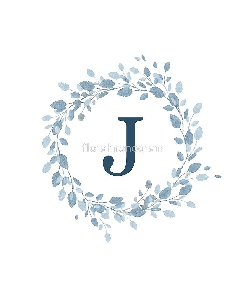 Monogram J Pretty Pastel Blue Leaves Sticker By Floralmonogram In 2021 Alphabet Wallpaper Pretty Pastel Stylish Alphabets