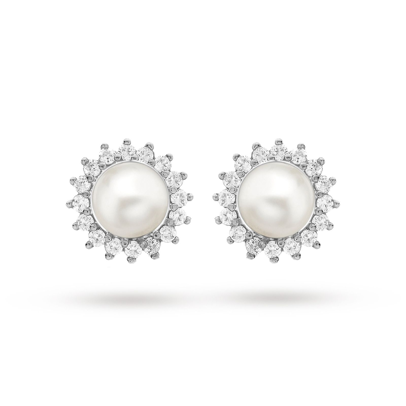 9ct White Gold 0.25ct Diamond and Pearl Cluster Stud ...