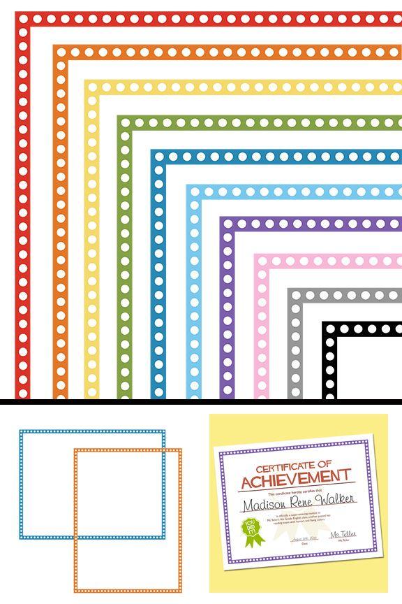 clip art free polka dot borders tpt free lessons pinterest