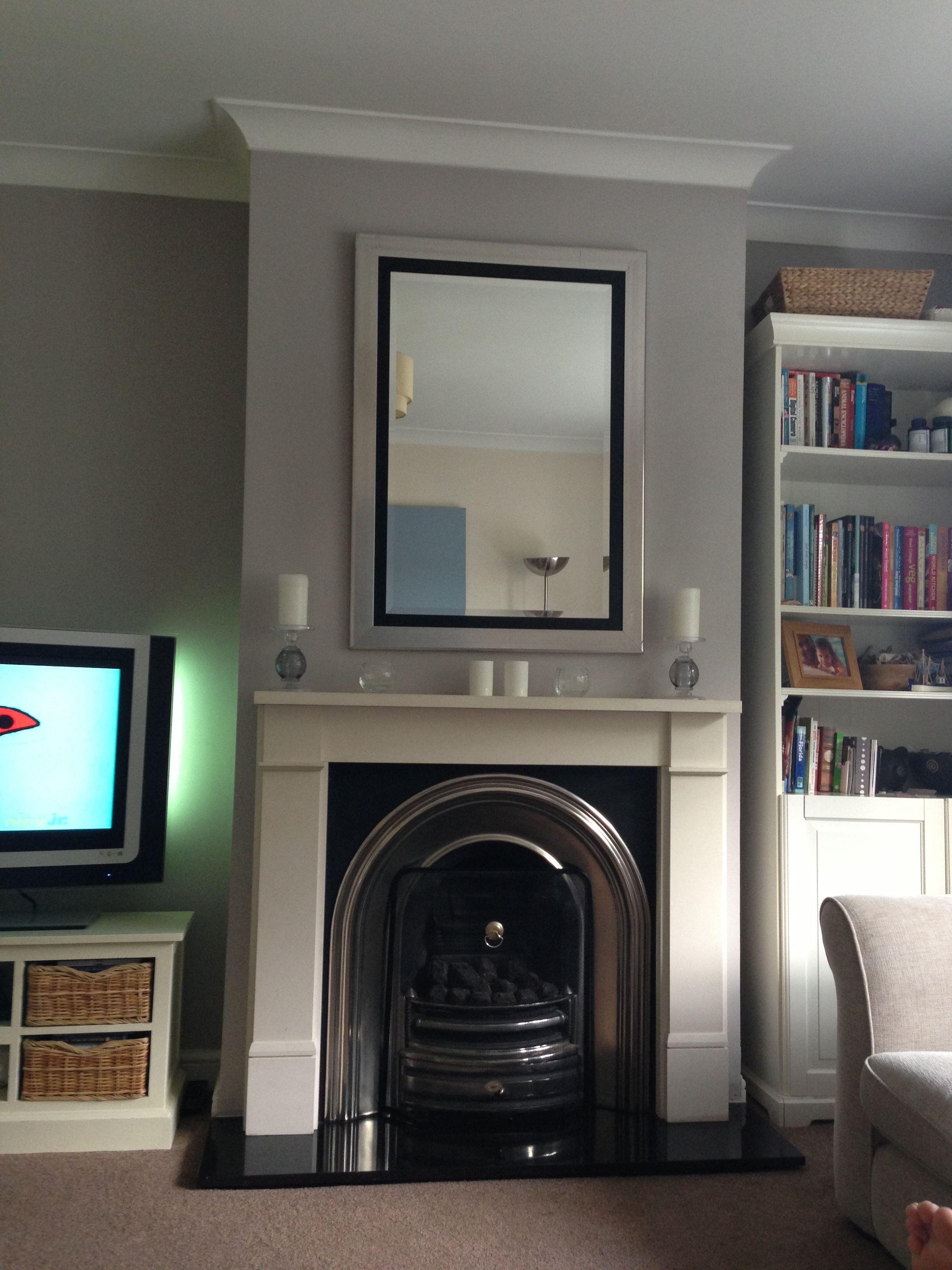 Grey Wall With Cream Fireplace Cream Fireplace Grey W