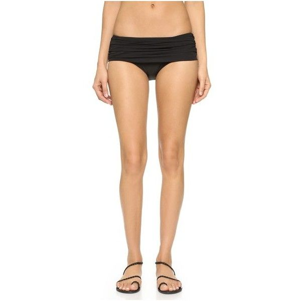 Norma Kamali Low Rise Bill Bottoms ($170) ❤ liked on Polyvore featuring swimwear, bikinis, bikini bottoms, black, norma kamali, scrunch bikini, ruched bikini, bikini bottom swimwear and scrunch bottom bikini