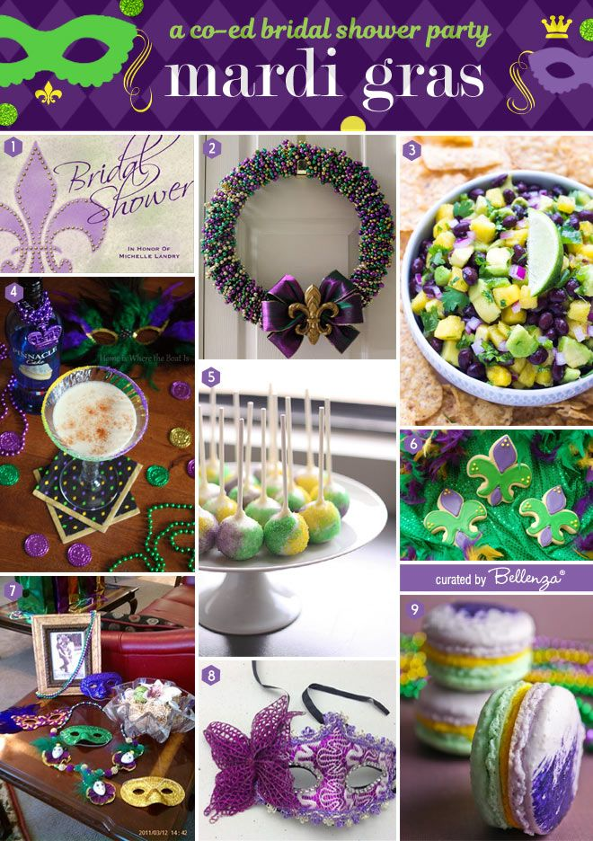 9babc262231c Festive ideas to plan a Mardi Gras Co-ed Bridal Shower Party.  mardigras   coedbridalshowers