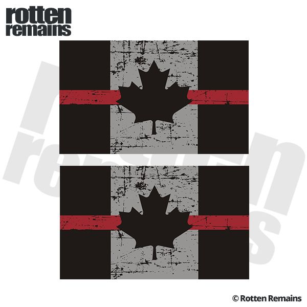 Tattered thin red line canada flag decal 3x1 8 set firefighter ems