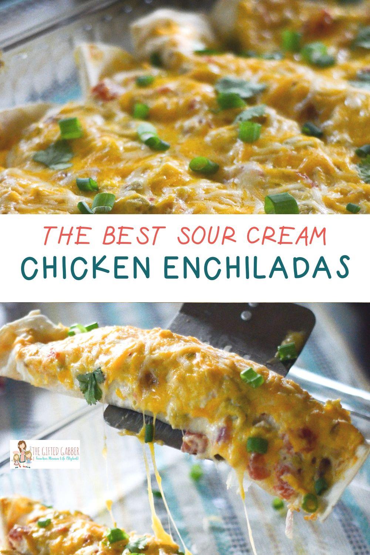 Green chile chicken enchiladas with sour cream sauce