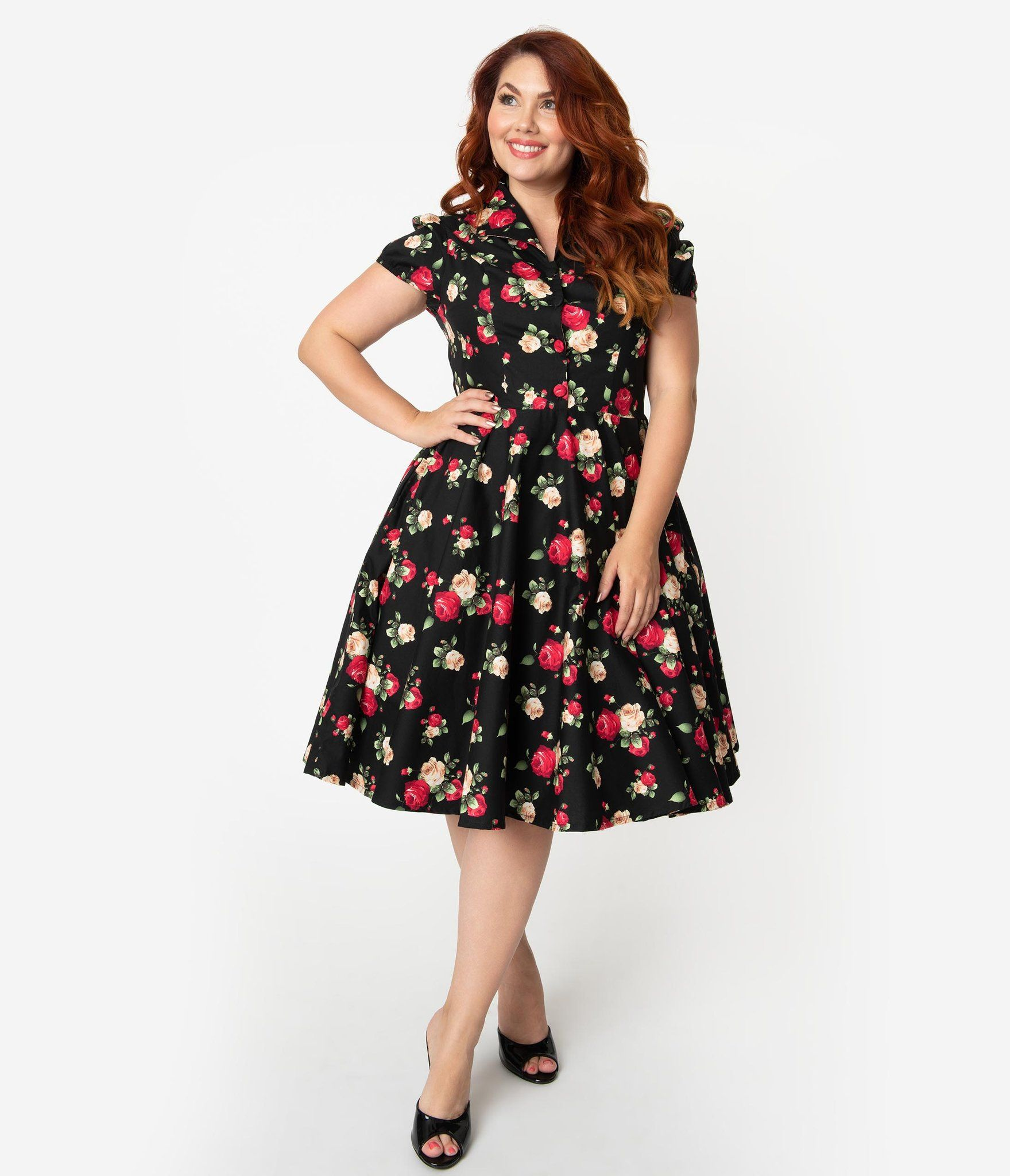 f4eed0b2f03b Plus Size 1950s Style Black Cotton Red & Ivory Rose Print Mona Swing D –  Unique
