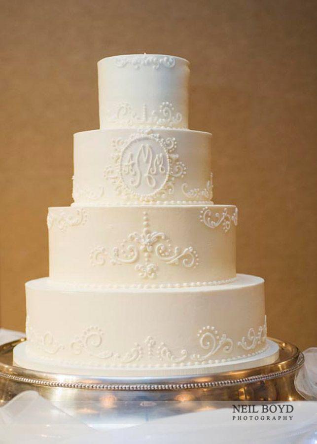 White wedding cake.  Raleigh weddings.