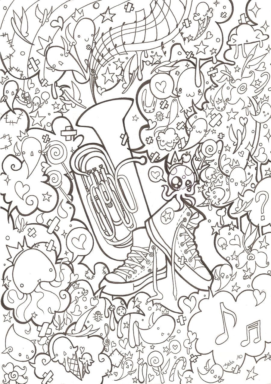 Tuba And Converse Lines By 3lda On Deviantart Cool Coloring Pages Monster Coloring Pages Music Coloring Sheets