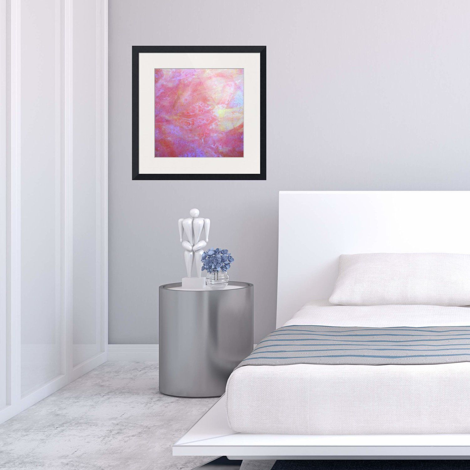 red yellow and pink framed prints | modern bedroom | home decor ...