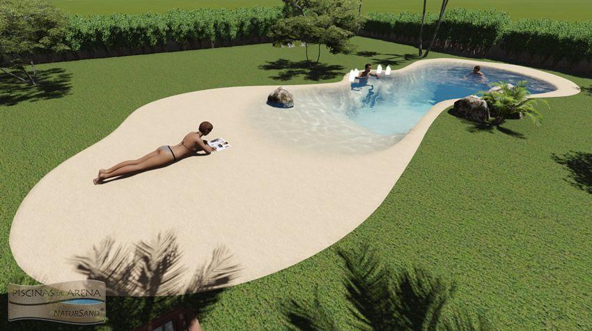 Piscina con dos playas banco de burbujas piscinas de - Piscina tipo playa ...