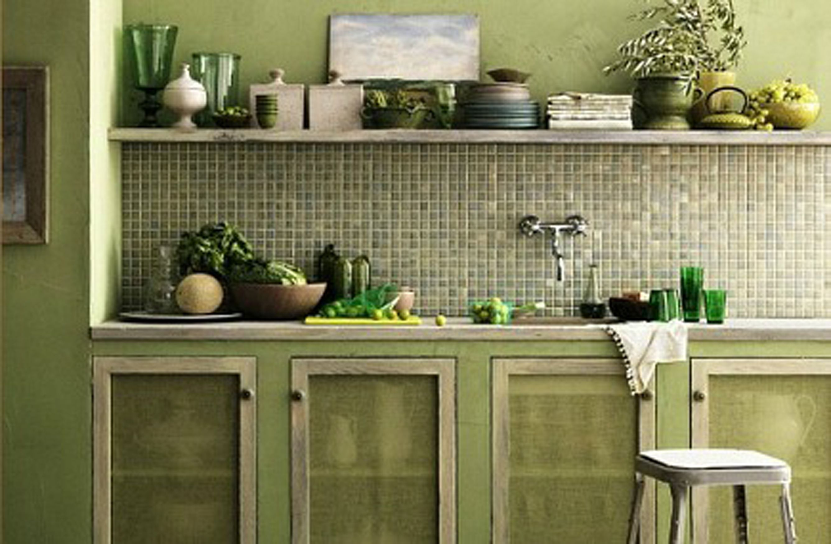 Monochromatic Green   Green kitchen cabinets, Green kitchen, Olive ...