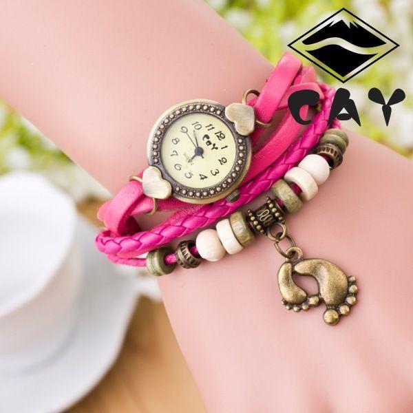 Cheap Vintage De La Armadura De Moda Cuarzo Wrap Around Pulsera De Cuero Reloj Con Colgante Para Mujer Casua Reloj Pulsera Mujer Reloj De Pulsera Reloj Pulsera