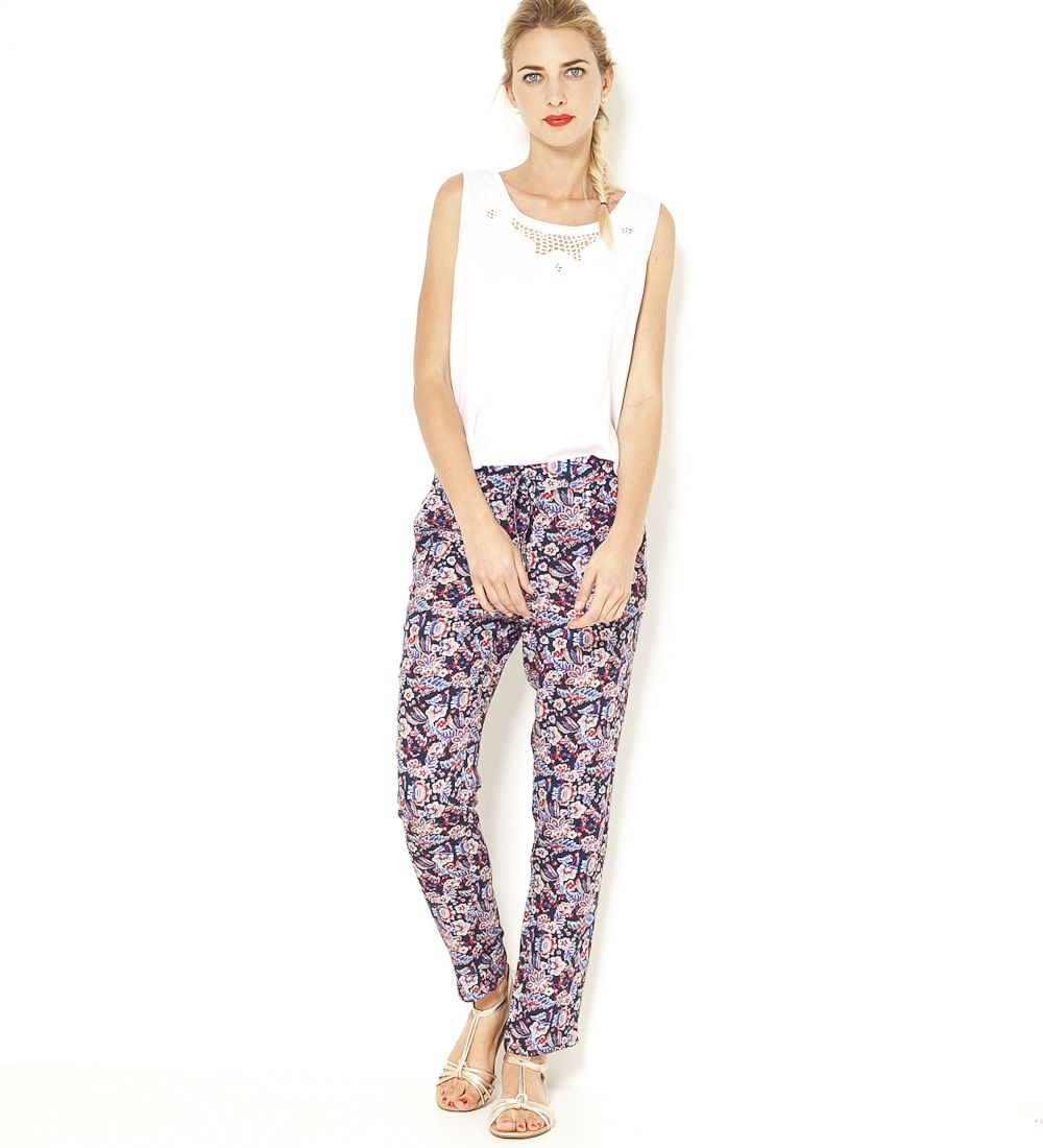 Pantalon fluide imprimé floral Camaïeu 2017