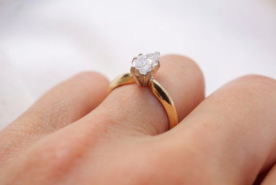 976d9160d1f4b Marquise diamond solitaire ring in 14k yellow gold dainty marquise ...