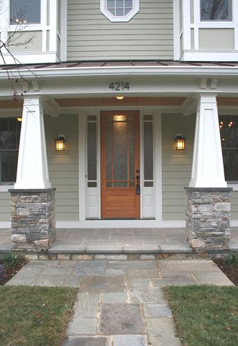 Craftsman Front Doors Craftsman Porch Facade House: Craftsman Tapered Columns With Stone, Cornices, No Railing, Bluestone Porch, Green Siding With