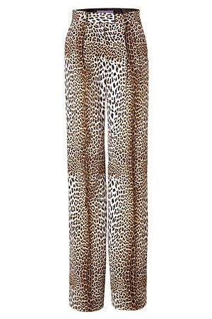 A statement choice for day or night, Emanuel Ungaro's leopard print pants feature cool color fade paneling and a fluid-like drape