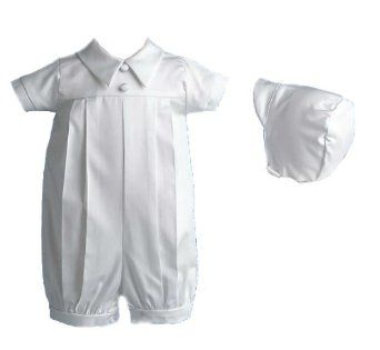 269a6d8d1ee59 Lauren Madison baby boy Infant Christening Baptism Special occasion Polished  Short Romper With Pleating On Front And Shirt Collar