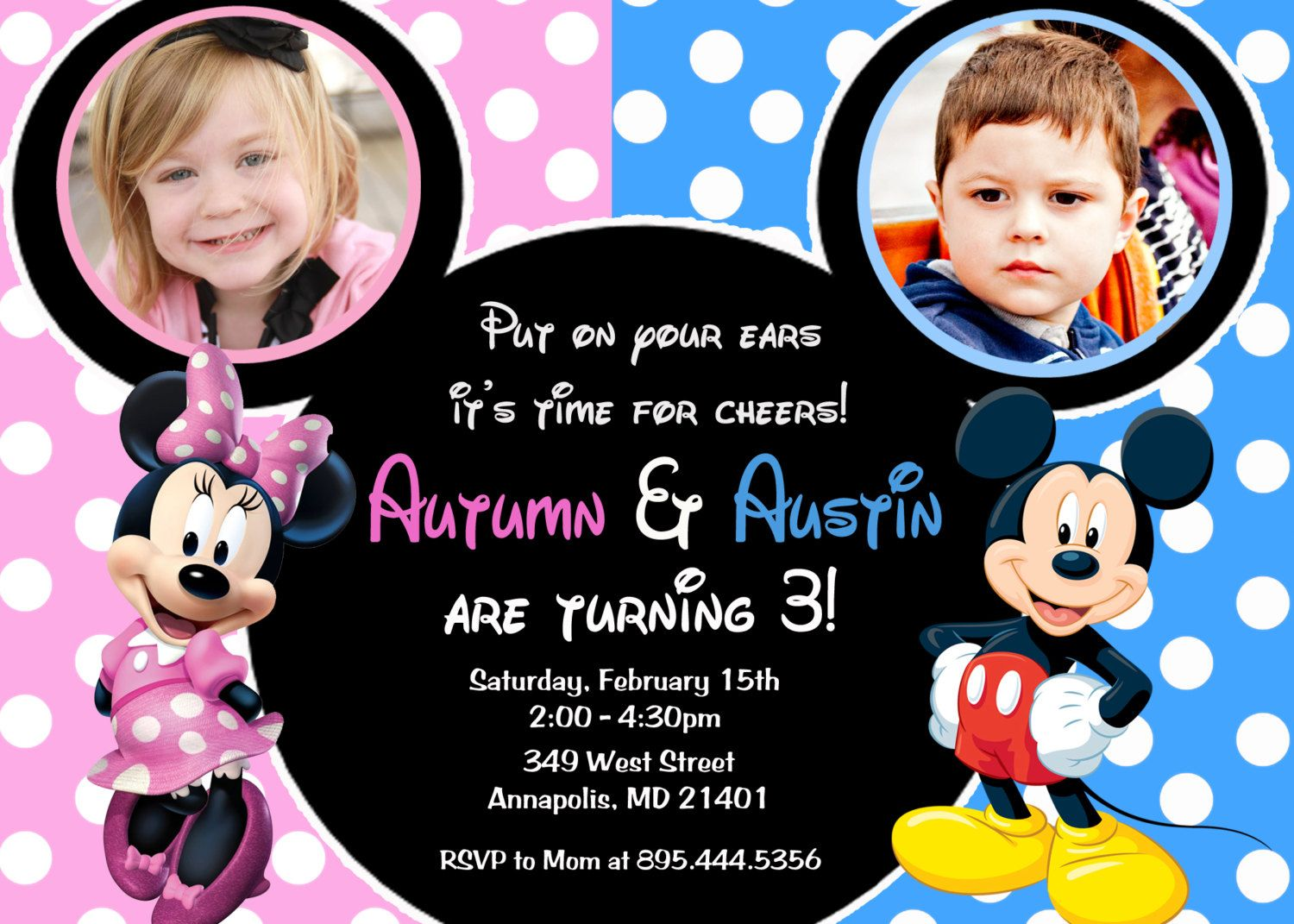 Download Double Kids Birthday Party Invitations Download this