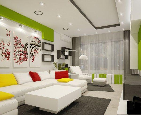 wohnzimmer lebendig farben wand deko idee frisch modern Nice - farbe wohnzimmer ideen