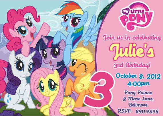 CUSTOM PHOTO Invitations My Little Pony Birthday Invitation