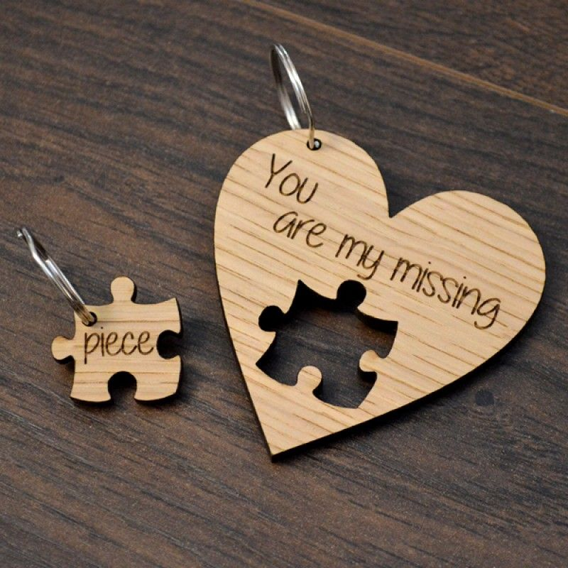 Personalised Wooden Valentines Day Gift Present My Missing Piece Keyring Set