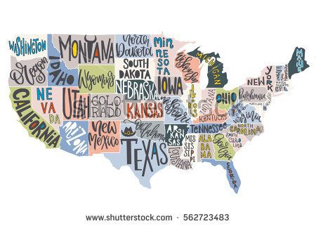 Hand Drawn Us Map.Usa Map With States Pictorial Geographical Poster Of America Hand