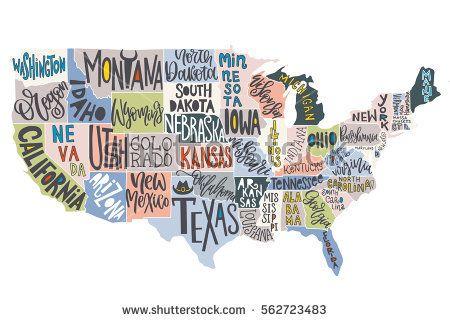 Stockvectorusamapwithstatespictorialgeographicalposterof - Us map buy