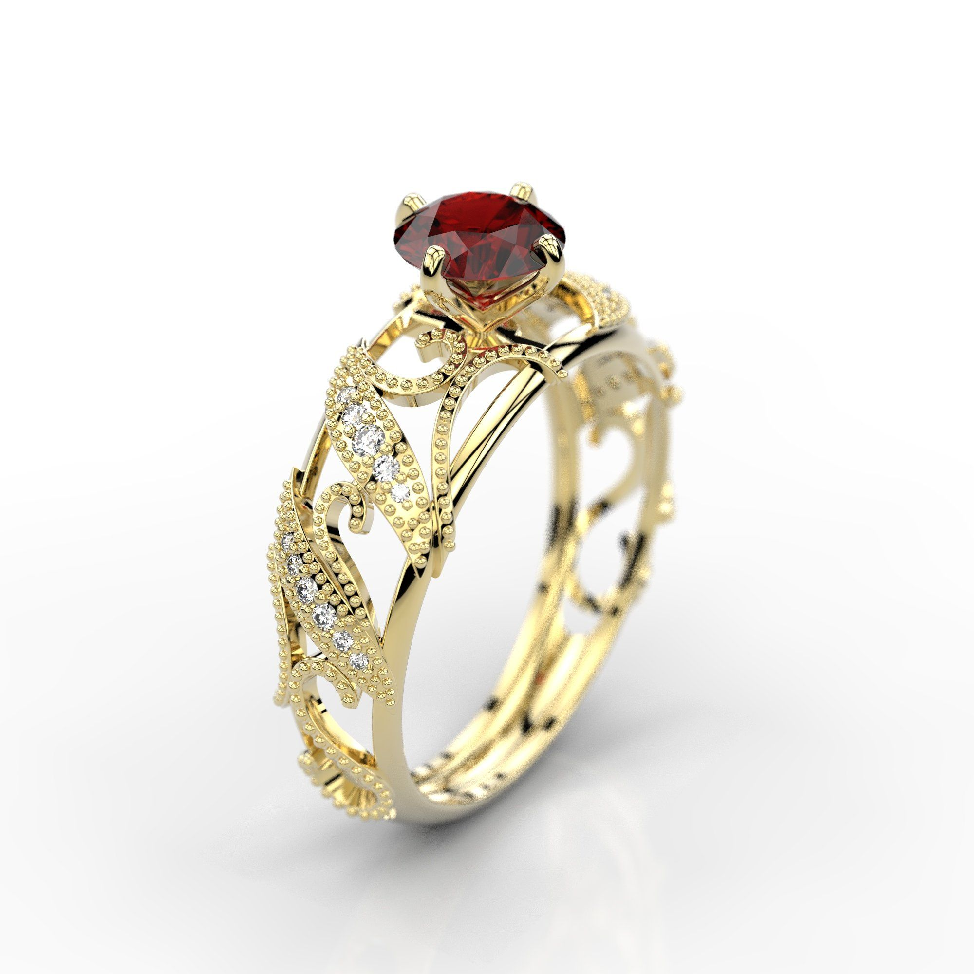 cts aaaa ruby engagement ring with natural diamond accent