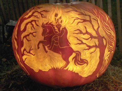 Headless Horseman Carving Pumpkin Carving Amazing Pumpkin Carving Halloween Pumpkins Carvings