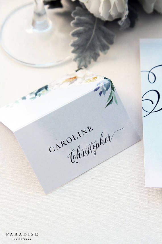 Margie Modern Calligraphy Place Cards Name Printed Watercolour Wedding Table