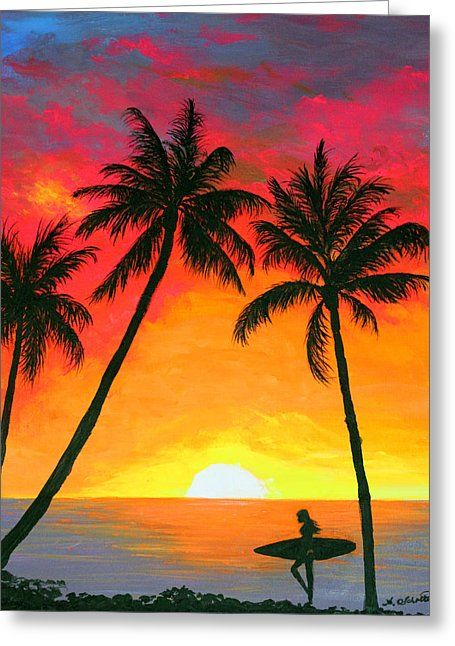 Tropical Sunset Surfer By Amy Scholten Sunset Art Surf Art