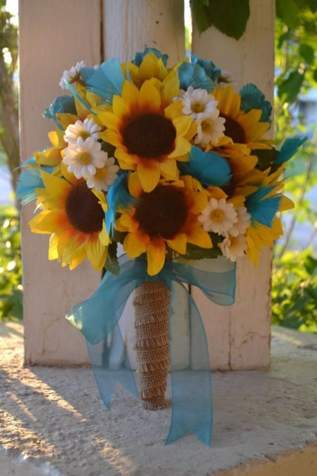 Rustic Sunflower Bouquet Country Southern Bride Rose Feathers Burlap Daisy Turquoise Blue Teal White Yellow Boutonniere