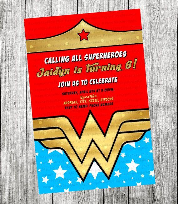 Invitación De Mujer Maravilla Invitaciones Mujer Maravilla