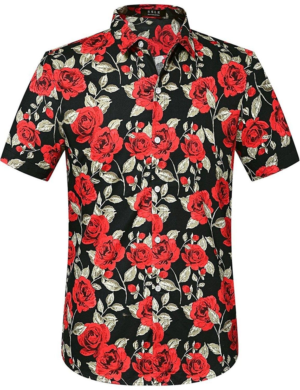 3ac32036c Men's Clothing, Shirts, Casual Button-Down Shirts, Men's Summer Rose Prints  Button Down Short Sleeve Shirt - Black - CR12GMML7JT #men #clothing #fashion  ...