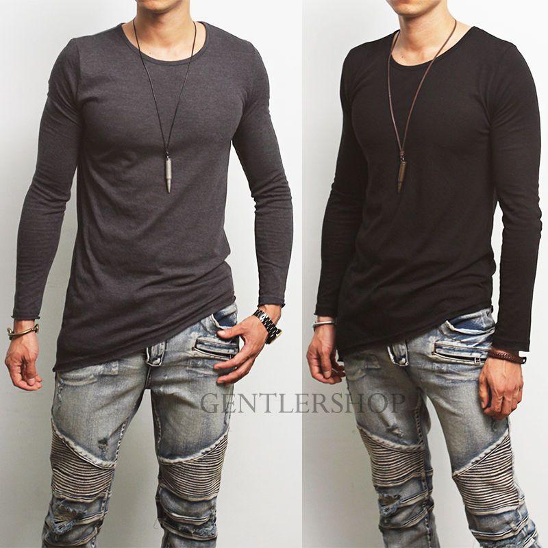 Details about Avant-garde Mens Fashion Diagonal Gray/Black Long ...