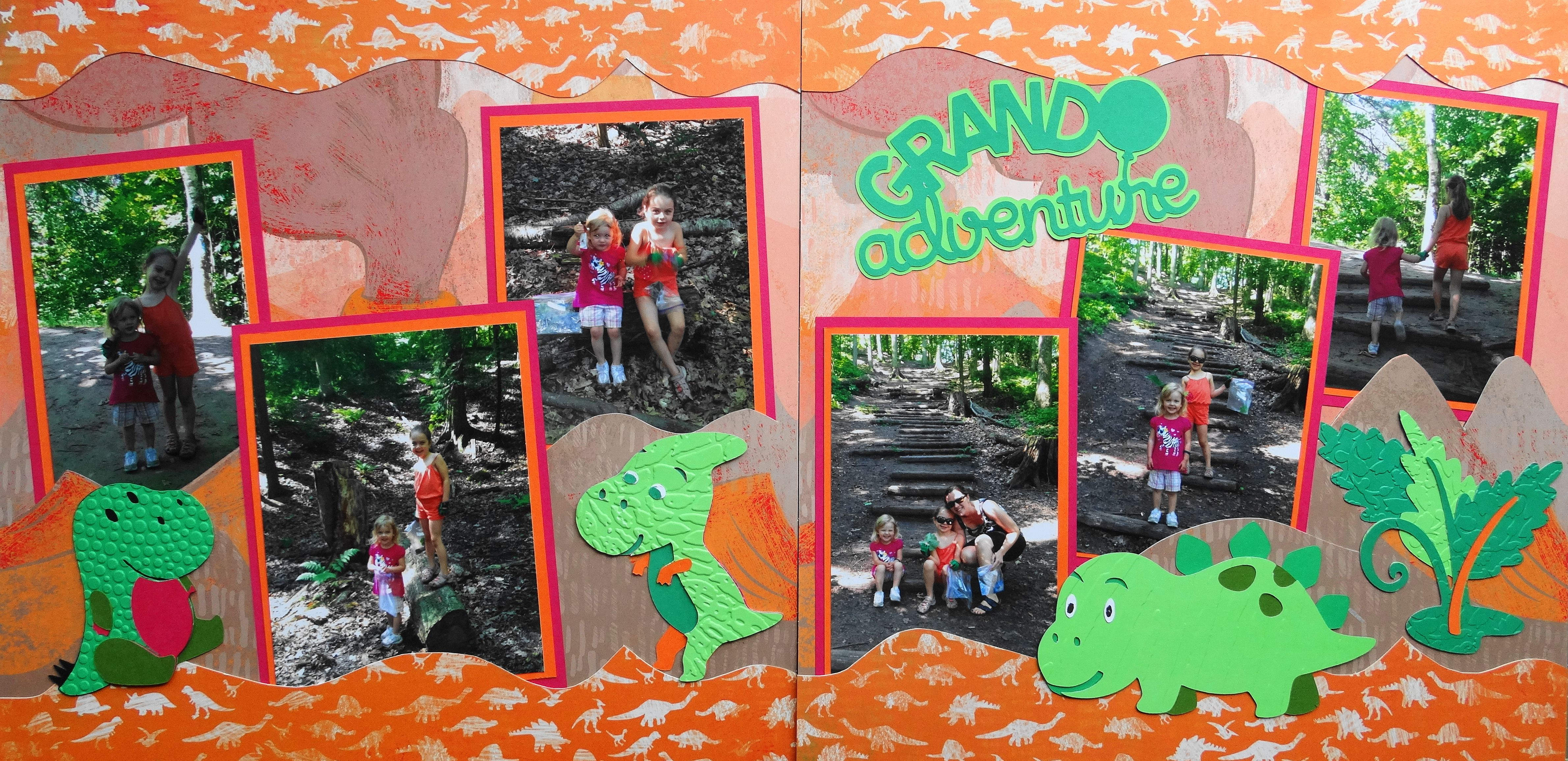 Scrapbook ideas adventure - Scrapbook Page A Grand Adventure 2 Page Kiwi Lane Layout With Plants And Dinosaurs From