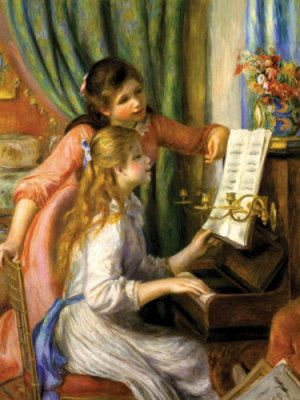 Renoir: Two young girls at the piano. My mother made this in needlepoint because it reminded her of my sister and me.