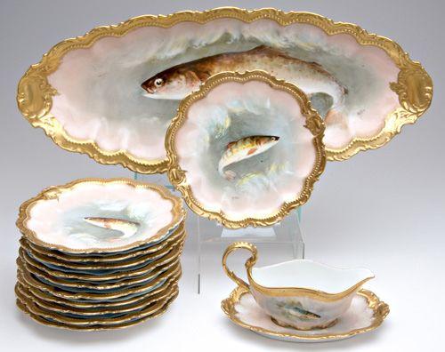 365 Set of 12 Limoges porcelain fish plates made by La  Lot 365 & 365: Set of 12 Limoges porcelain fish plates made by La : Lot 365 ...