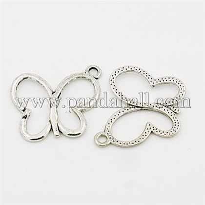 Antique Silver Plated Alloy Butterfly Necklace Pendants for DIY JewelryX-EA11928Y-1