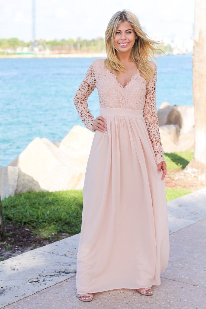 0cf690e54de8 Blush Crochet Maxi Dress with Open Back and Long Sleeves in 2019 ...